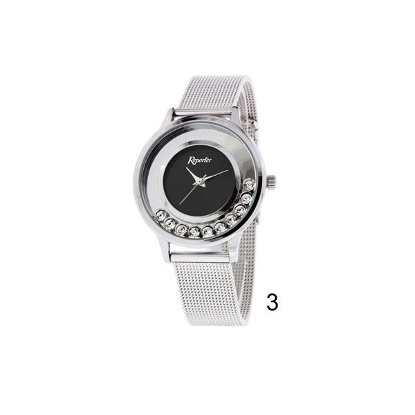 orologio donna low cost Reporter con pietre quadrante nero